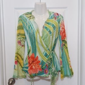 Cache Krinkle  Floral Print Wrap Blouse Top